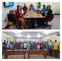 O superintendente da agricultura Luziel Carvalho se reúne com os produtores de acaí de Feijó